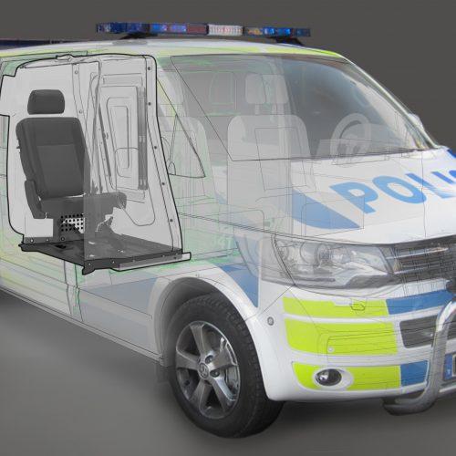 Arrestplats till polisens minibussar